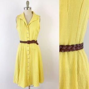 Light Yellow Collared Shirt Dress Button Up P680